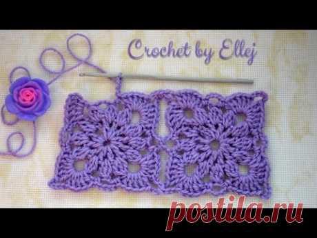 Безотрывное вязание крючком квадратных мотивов. Crochet without cutting the thread.