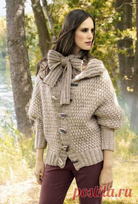 Свободный жакет на пуговицах спицами и шарф - Портал рукоделия и моды