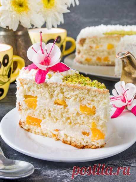 Рецепт Нежный творожный торт с персиками на Вкусном Блоге
