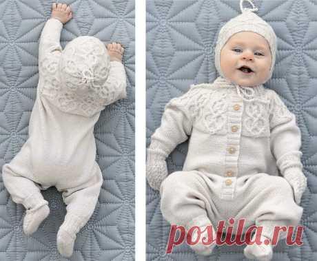 Комплект с узором из кос для новорожденных - схема вязания спицами. Вяжем Комплекты на Verena.ru