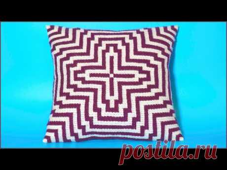 Подушка жаккардом тунисским крючком. Часть 1. Crochet pillow. Part 1.