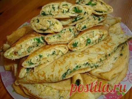 Лучшие кулинарные рецепты : Блинные конверты с сыром и зеленью