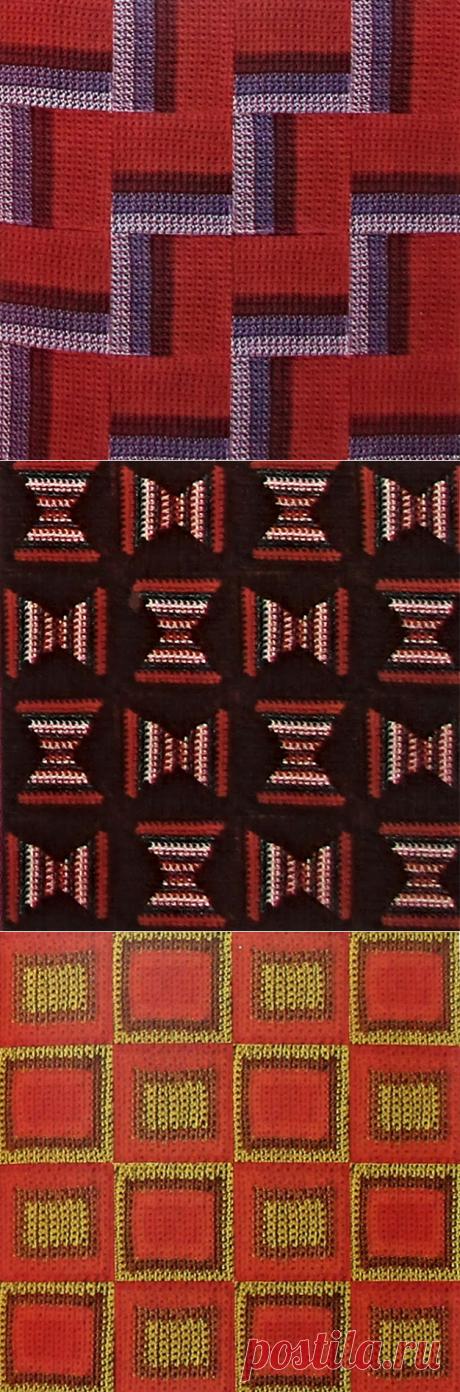 Цветные узоры на квадратах-крючком и спицами.