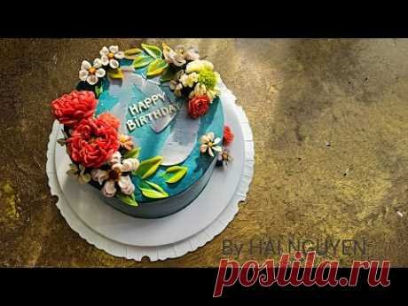 Bánh sinh nhật đẹp trang trí hoa kem bơ   Awesome Decorate buttercream flower cake