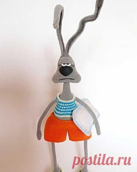 """Заяц """"Доброе утро..?"""" амигуруми. Схемы и описания для вязания игрушек крючком! Мастер-класс по вязанию зайца """"Доброе утро..?"""" от Анастасии Сиротиной. Высота вязаного крючком зайца примерно 26 см без ушек и 37 см с ними…"""