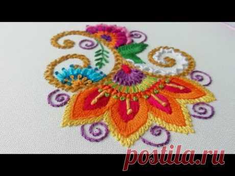 Индийская вышивка * Простые стежки * Декоративный цветок  #malina_gm