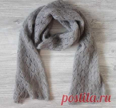 Закончен ажурный мохеровый шарф | Вязание и творчество | Яндекс Дзен