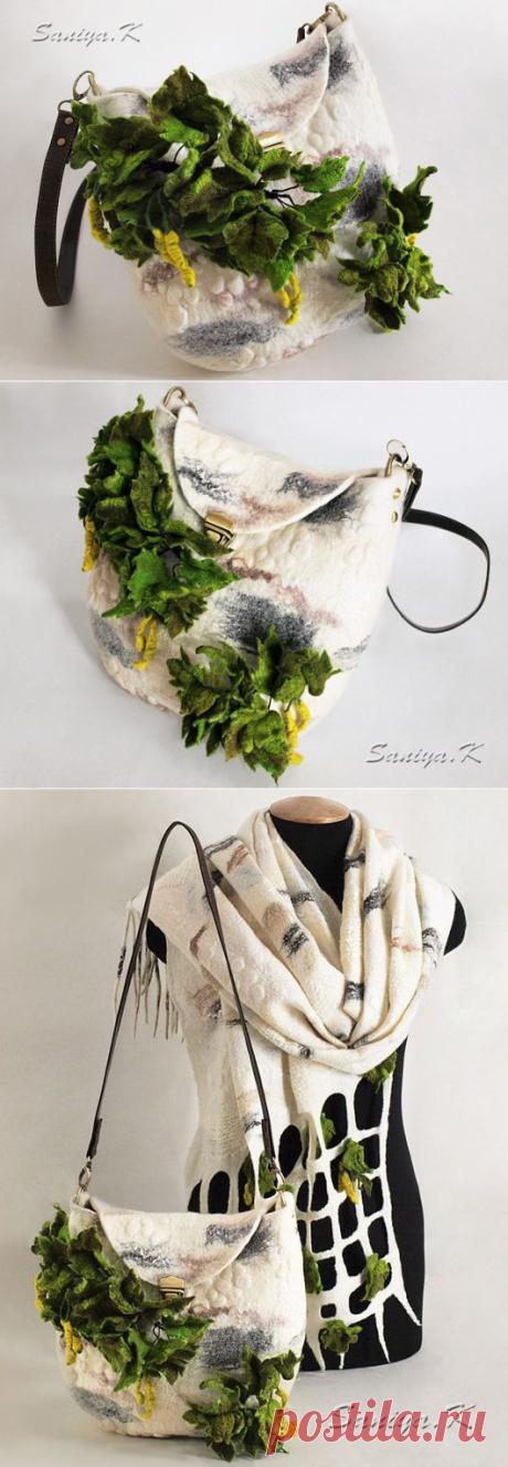 """Купить Валяная сумка и палантин """"Береза"""" - белый, однотонный, сумка, палантин, береза, шерсть 100%"""
