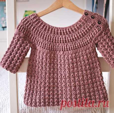 Вязание крючком узор ребристые кокетка свитер ребенка размеры 6-12 м вверх   Etsy