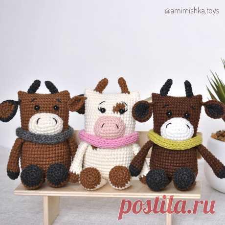 PDF Бычок Макарыч крючком. FREE crochet pattern; Аmigurumi animal patterns. Амигуруми схемы и описания на русском. Вязаные игрушки и поделки своими руками #amimore - корова, коровка, телёнок, бык, бычок.