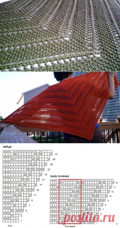 Просто и красиво: шаль-косынка спицами.