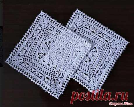 Комплект квадратных салфеток - Вязание - Страна Мам