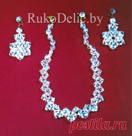 The set ''Snowflake'' executed on a scaffold from costume jewelry beads:: A beads from natural stones:: Beadwork:: RukoDelie.by