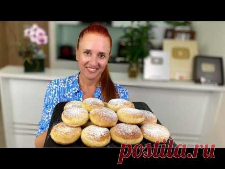 Ленивые ПОНЧИКИ с кремом без дрожжей и лепки Пирожки на сковороде Люда Изи Кук donuts no yeast