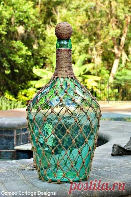 Декор бутылки веревкой