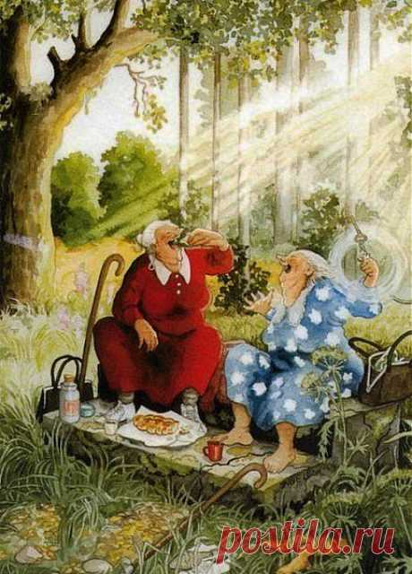 Затем были журнальные иллюстрации, открытки, календари -и, в конечном счете, в 1979 году решила работать как независимый художник. Нарисовала более 300 открыток, из которых около половины на тему Рождества. Иллюстрирует книги и журналы, особенно на садоводческие темы. Наибольшую известность ей принесла серия [ссылка] - весёлых, не желающих стареть старушек. Первый рисунок бабушки появился в 2003 году, сейчас их около 20, открытки и календари с ними разлетаются как горячие пирожки по всему миру.