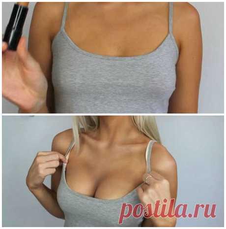 Как увеличить себе грудь — кистью для макияжа (Потрясающее видео!)