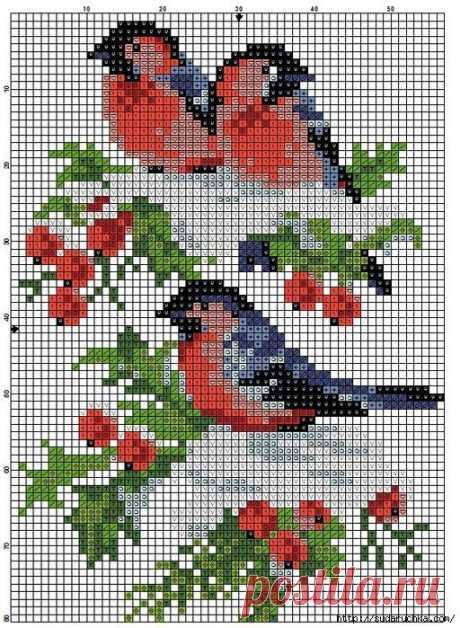 Подборка схем вышивки с птичками — DIYIdeas