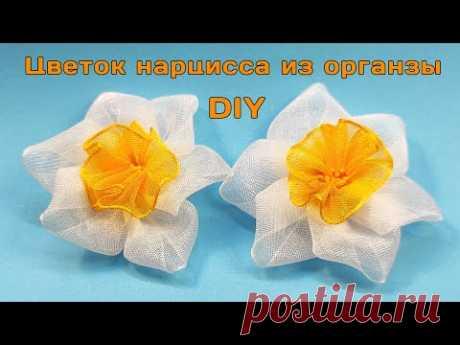 Как сделать цветок нарцисс из лент органзы 2,5 см   Цветок канзаши своими руками - YouTube