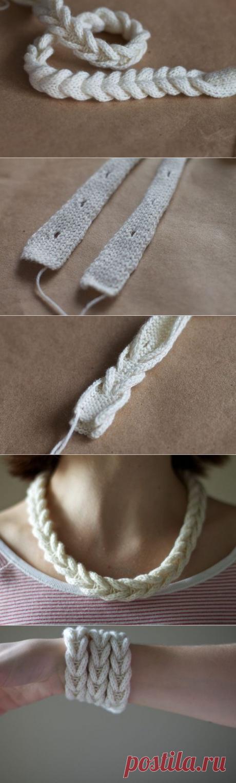 Интересный способ вязаной косички - Сам себе волшебник
