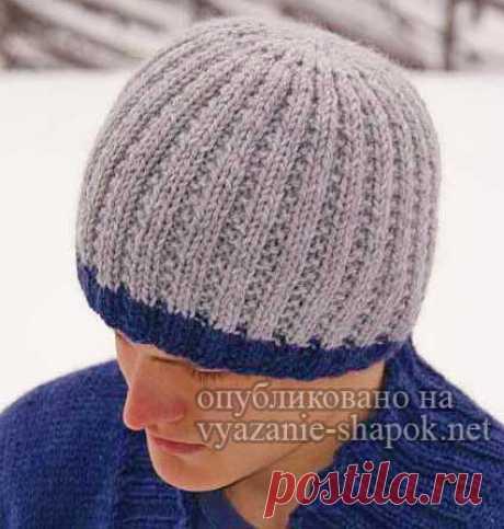 Мужская зимняя шапка спицами — классика и стиль от Дропс | ВЯЗАНИЕ ШАПОК: женские шапки спицами и крючком, мужские и детские