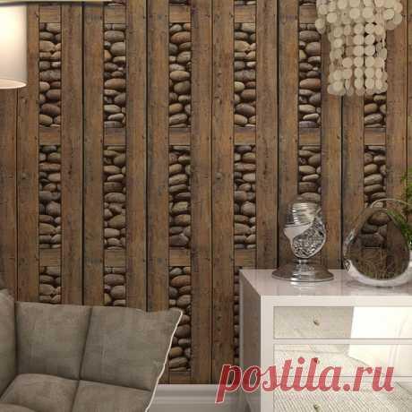 Винтажные кирпичные обои 3d ПВХ дерево камень водостойкие обои домашний декор персональный контакт виниловые стеновые панели papel tapiz купить на AliExpress