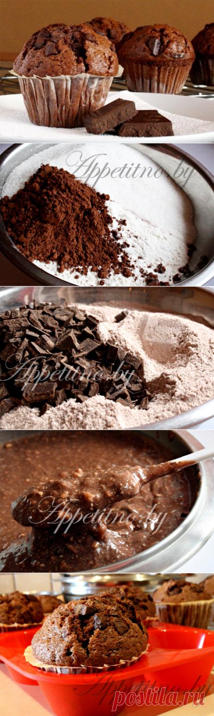 Шоколадные маффины с кусочками шоколада - пошаговый фоторецепт