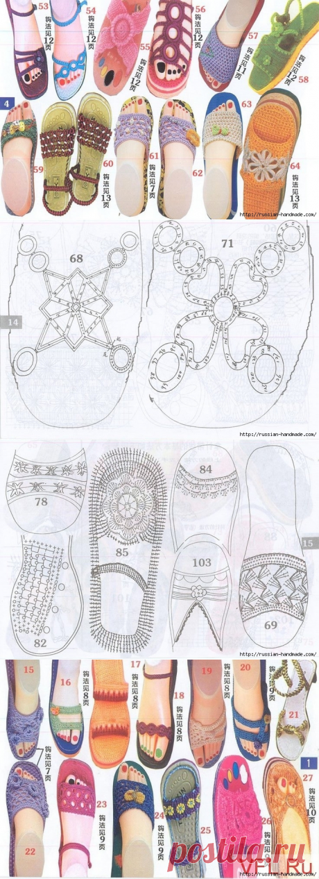 Вязаная крючком летняя обувь. Схемы | Russian-Handmade