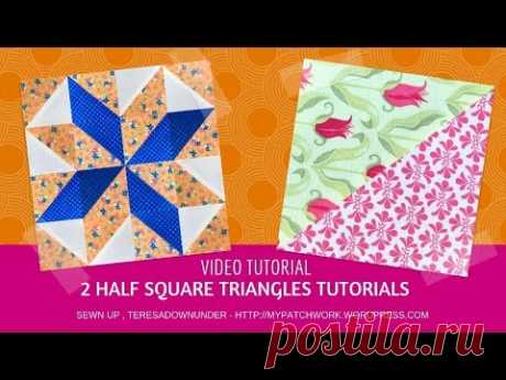 Two techniques to make half square triangles video tutorial