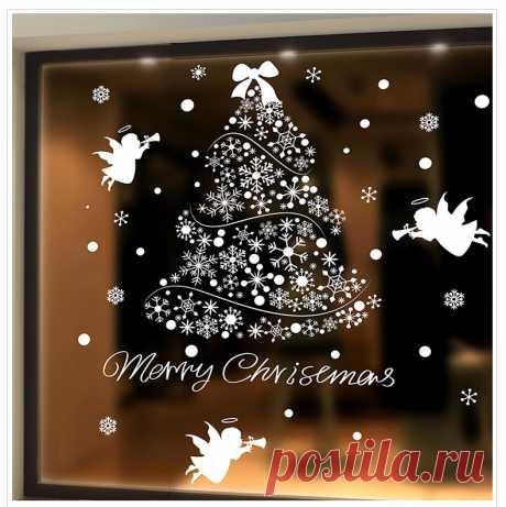 Aqumotic большой Рождеством наклейки елка снежинка Рождественские виниловые наклейки Скрапбукинг наклейки елки купить на AliExpress
