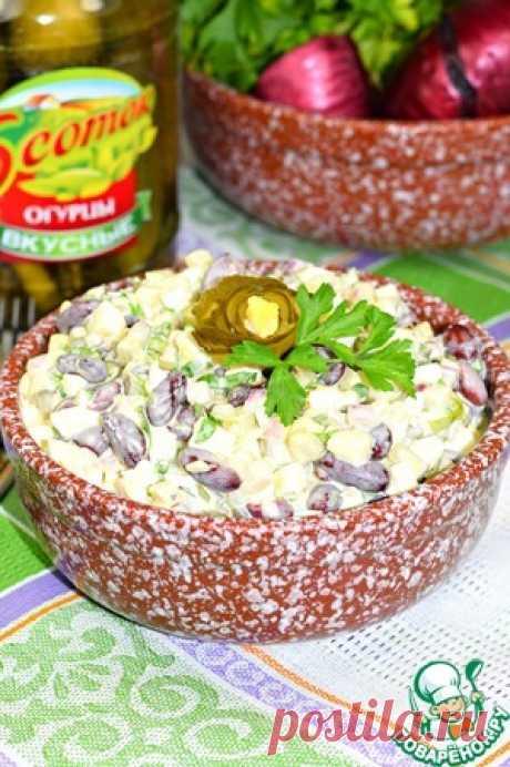 """Салат с фасолью и огурцом """"Пятиминутка"""" - кулинарный рецепт"""