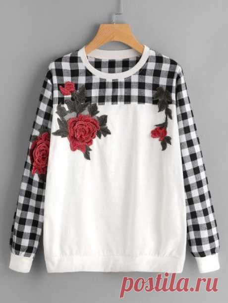 Contrast Check Plaid Embroidered Appliques Sweatshirt For Women-romwe