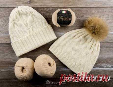 Две шапки спицами из мериносовой шерсти