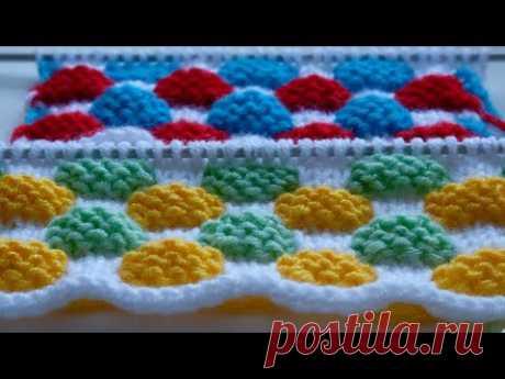 Цветные узоры спицами. Разноцветная плетенка.