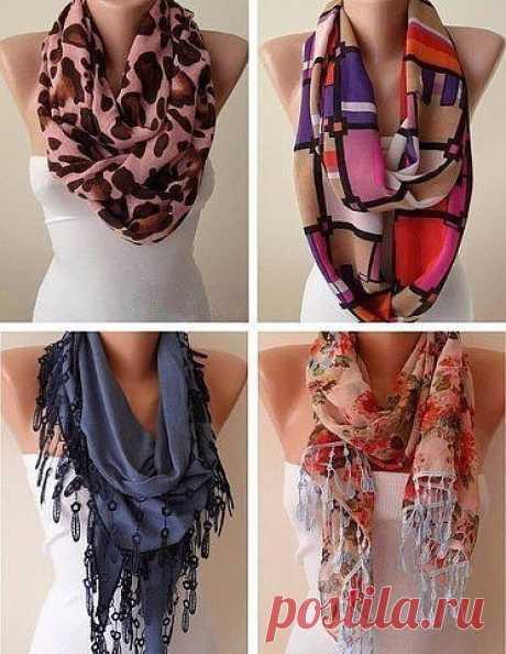 Как стильно завязать шарф этой весной. Забирай себе на стену, чтобы было всегда под рукой. / Необычные поделки