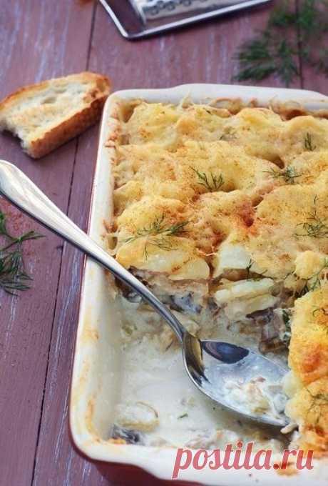 Как приготовить картофельная запеканка с курицей и грибами - рецепт, ингридиенты и фотографии