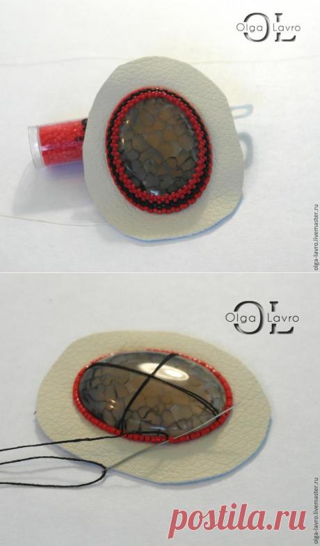Пришивание и оплетение кабошона к основе. Фрагмент мастер-класса. | Журнал Ярмарки Мастеров