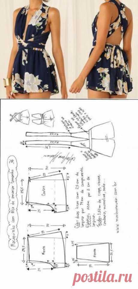 Выкройка пляжного комбинезона Модная одежда и дизайн интерьера своими руками