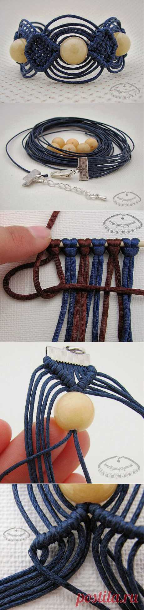 Bracelet in equipment of a macrame from a lace and beads. Master class.