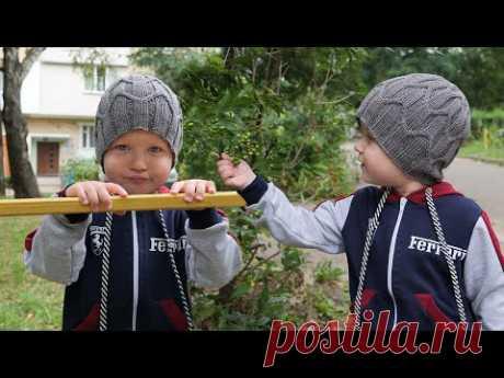 "Шапка «Магистраль» для мальчика спицами | Boy's hat ""Highway"" free knitting patterns - YouTube"