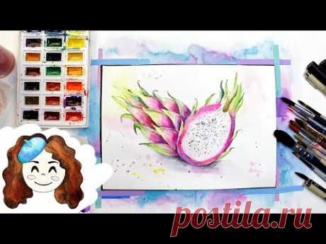 Как нарисовать Питахайю (Драконий фрукт). 365 арт дней. День 21