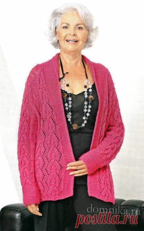 Вязаная кофта спицами для пожилых после 60 лет - женская кофта спицами схема