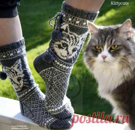 Вяжем носки с котиками — DIYIdeas
