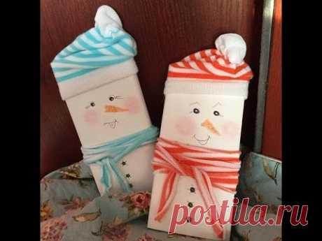 DIY. Новогодние снеговики шоколадки.