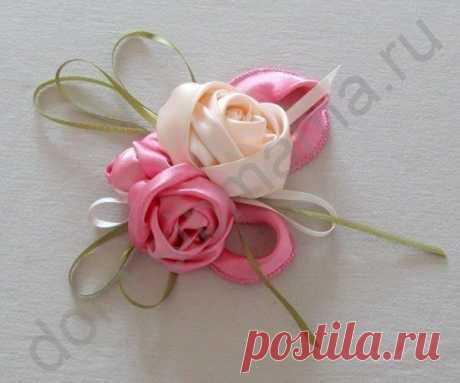 Красивые розы из широких и узких атласных лент