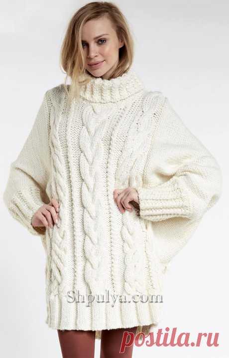 Объемное платье-свитер с «Косами» спицами — Shpulya.com - схемы с описанием для вязания спицами и крючком