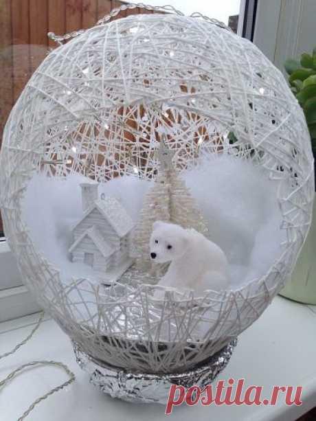 Отличный декор - шар из ниток и клея ПВА