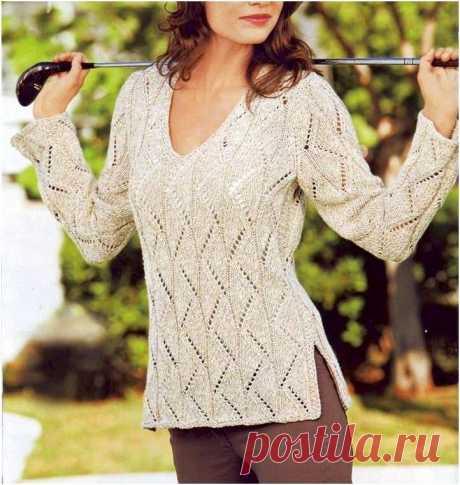 Пуловер с ажурными дорожками (Вязание спицами) – Журнал Вдохновение Рукодельницы
