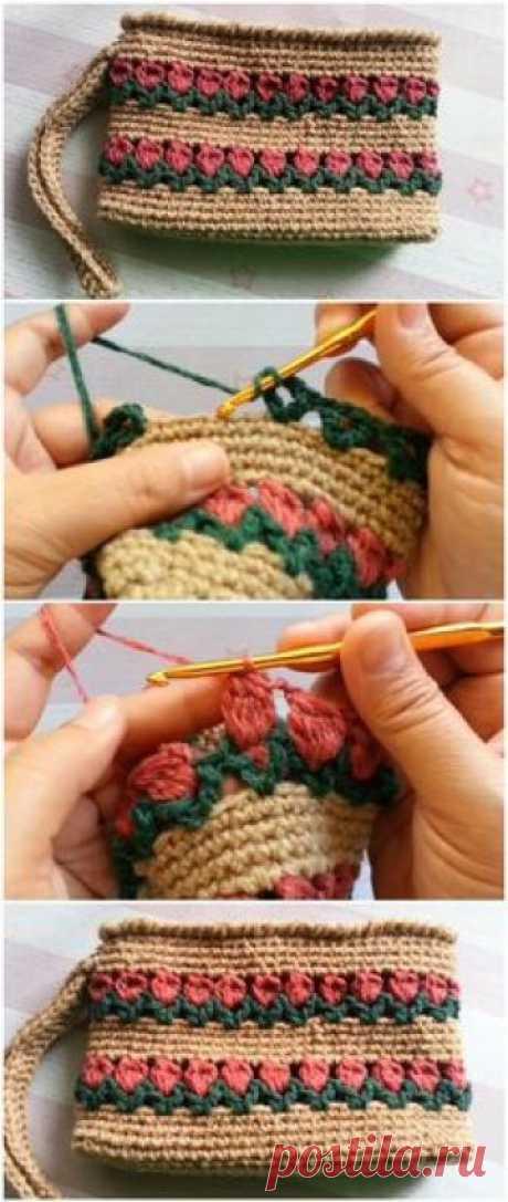 Crochet Rectangle Tulip Purse