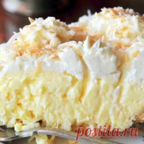 Нежнейший кокосовый пирог с толстым слоем крема. Вкусно - МирТесен